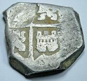 1600and039s Spanish Silver 4 Reales Genuine Antique Colonial Pirate Four Bit Cob Coin