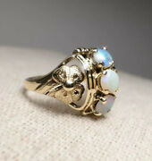 Victorian 14k Gold Floral Oval Fiery Opal October Birthstone 3 Stone Band Ring