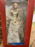 Vintage Victorian Christmas Angel Tree Topper 17 Tall In Box