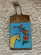 Antique Old Yakima Pictorial Beaded Hide Pouch