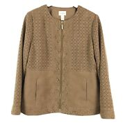 Chicos Jacket 1 Tan Faux Suede Leather Zip Front Us Size Medium