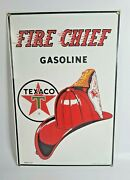 Vintage Texaco 1986 Ande Rooney Fire Chief Gasoline Porcelain Sign 10.5 X 16