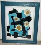 Mid Century Abstract Painting Artist Signed A . Amodio 68 Titled Slated - No 7