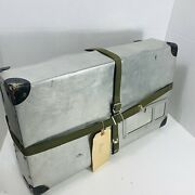 Vintage Aluminum Shipping Box Mailing Container Case With Straps Used Dented