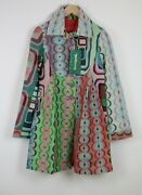 Desigual Women Eu M Textured Abstract Printed Pleated Coat Andnbsp