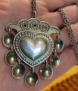 Vintage 925 Signed Marked Sterling Silver Heart Charm Pendant And Chain 28 L 20g