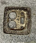 Antique Ornate Brass Victorian Double Cover Plate Switch And Outlet