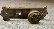 Large Heavy Antique Brass Victorian Entry Door Knob With Back Plate Sun Design