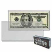 50 Semi-rigid Deluxe Currency Protector Sleeves Us Dollar Bill Holders Bcw