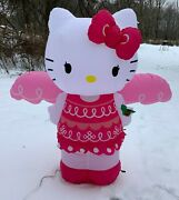 Rare 2014 Gemmy Hello Kitty Angel Airblown Inflatable Lights Up Christmas W/box