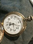 Cenova 17 Jewel Gold Tone Pocket Watch Train On Front And Milan Pocket Watch Asis