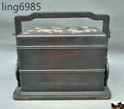 9china Rosewood Wood Flower Butterfly Statue Treasure Chest Jewelry Storage Box