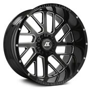 22x12 Axe 2.0 Compression Forged Gloss Black Milled Wheels 8x6.5 Dodge Chevy