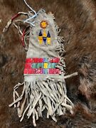 Antique Old Sioux Quilled Hide Bag. C. 1880's. Provenance Available.