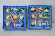 Vintage Shiny Brite Glass Christmas Tree Ornaments 18 Ct. Striped Flocked Indent