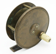 Scarce Antique Scottish Brass Fly Fishing Reel Gow And Sons Makers Dundee