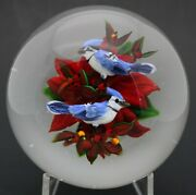 Magnum Festive Ayotte Realistic Blue Jay Duo On Poinsettia Art Glass Paperweight