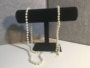 Lot Of 2 Costume Jewelry Pcs -faux Pearl Necklace And Choker -black Velvet Stand
