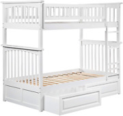Atlantic Furniture Columbia Bunk Bed With 2 Raised Panel Bed Drawers Twin/twin