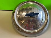 Vintage Chevy 9.5 Dog Dish Hubcaps W/ Blue Bow Tie Please See All Photos