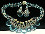 Miriam Haskell Set Vintage Signed Aqua Blue Glass Pearl R/s Necklace Earrings A8