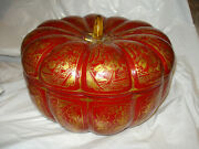 """Vintage 10.5"""" Chinese Pumpkin Hand Painted Carved Wood Lacquer Box With Tray"""