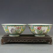 Pair Of Beautiful Chinese Antique Famille Rose Peony Flower Porcelain Bowls.mark