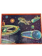 Milton Bradley 1960 Space Travel Astronaut Tray Puzzle Moons Planets Space Ship