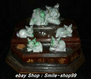 13chinese Natural Emerald Green Jade Jadeite Carved Five Rabbit Bunny Statue