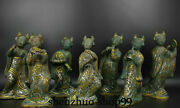12 Old Chinese Bronze Gilt Ware Dynasty Seven Beauties Orchestra Statue Set