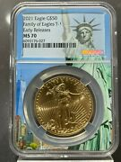 2021 50 Gold American Eagle Type 1 Ngc Er Ms 70 Liberty Core Holder 32 Known