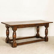 Antique Dark Oak Refectory Library Table With Decoratively Carved Skirt From Fra