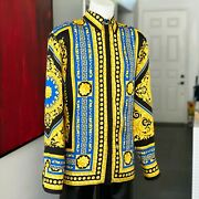 Gianni Versace Silk Shirt Neo Classical Game Size It 54 From 1999 Royal Blue