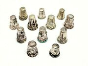 12 Vtg And Antique Sterling Silver Thimble Lot Mexico Mexican Ornate Abalone