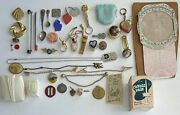Junk Drawer Lot Vintage/antique Itemsandmdash Jewelry/collectible/wwii/tokens/dog Tags+