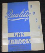 Vintage1934 Quality Gas Ranges Stoves Trade Catalog,hotel And Restaurant Equipment