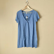 Michelle By Comune Solid Blue Cross V-neck T-shirt Tunic Dress Nwt Size Medium