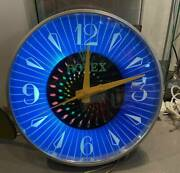 Vintage 1960's Rolex Electric Signboard Wall Clock 39cm In Diameter Very Rare