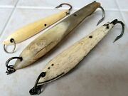 3 Beautifully Aged Antique Japan Whale Bone Tuna Fishing Lures Artifacts