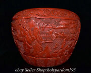 20 Marked Old Chinese Red Lacquerware Mountain Tree Human Round Jar Pot