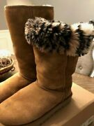 Ugg Uggs Australia Womens Tall Chestnut Boots Leopard Fur -size 6- Excellent