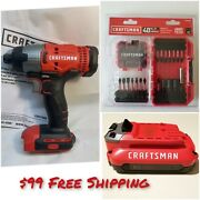 Craftsman Cmcf800 20v Cordless 1/4 Inch Impact, 1 Battery And 1 Drill Bit Set