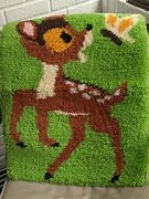 Vintage Handmade Bambi Latch Hook Wall Hanging 2and0393 X 1and0398