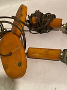 As Is, Pair Of Vintage Art Deco Catalin Butterscotch Yellow Bakelite Table Lamps