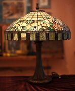 Vintage Large Style Stained Glass 2 Light Table Lamp Hand Made 26x20
