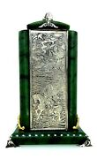 Antique Russian Silver ,nephrite Paperweight And Pen Holder.