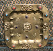 """Antique Chinese Brass Tray With Stones Handmade 11 1/2"""" Hanging Platter Rare"""