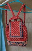 Vera Bradley Drawstring Retired Backpack/purse Bag Red And Navy Blue