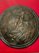 Vintage -cast Iron Wall Plaque 28 Used Once In Court Room Dei Gratia -latin
