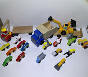 Melissa And Doug Toy Lot Wood Magnetic Car Loader, Construction Site, And Dump Truck